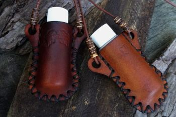 Limited Edition Hand Stitched Mini Leather 'Bottle Holder' + Refillable Plastic Bottle & £5 Donation To NHS