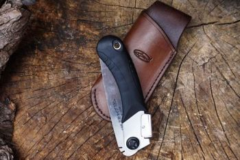 Bespoke Handmade Leather Sheath with Mini Japanese Pocket Folding Saw - (45-4510) - Made To Order