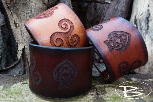 Hand Crafted Viking Styled Leather Cuff - Triskele Motif Design