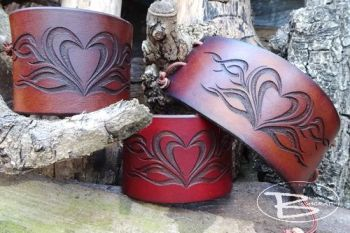 Leather tribal heart cuffs handmade by beaver bushcraft