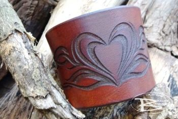 Leather tribal heart cuff hand made by beaver bushcraft