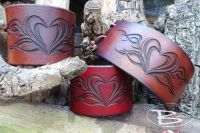 Hand Crafted Viking Styled Leather Wrist Cuff - Tribal Heart Design