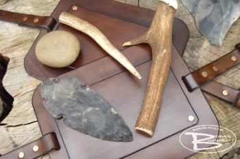 BESPOKE - Flint Knapping Leather Leg Guard - RIVETED (45-9200)
