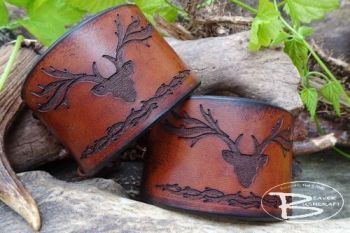 Leather viking style cuffs with stag handmade by beaver bushcraft