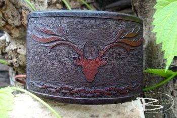 Leather wrist cuff stag head relief by beaver bushcraft