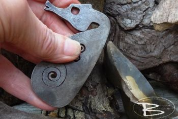 Fire steel sea horse with triskele motif made by beaver bushcraft