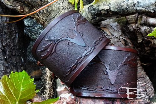 Hand Crafted Viking Styled Leather Cuff - Stag Head (Relief) Design