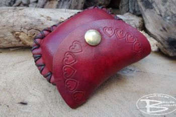Leather coin purse with hand tooled heart motif by beaver bushcraft