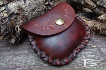 Leather mini pouch hand tooled distressed by beaver moon