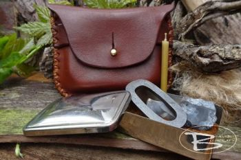 vintage tinderbox with simple hand stitched leather tobacco pouch by beaver
