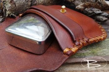 vintage tinderbox with hand stitched leather traditional style pouch by bea