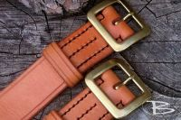 BESPOKE - Hand Stitched '306' Classic Leather Belt - Full 'Solid Brass' Buckle - (45-3306)