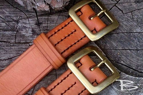 BESPOKE - Hand Stitched '306' Classic Leather Belt - Full 'Solid Brass' Buc