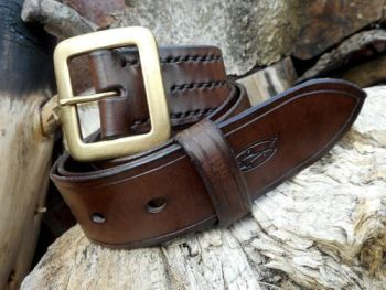 leather-301- belt-hand stitched-brown