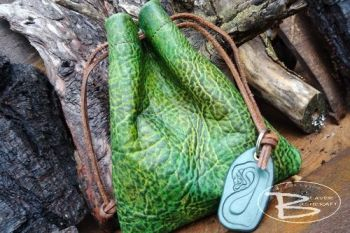 fire and leather hand dyed dragon skin pouch with dragon key ring by beaver