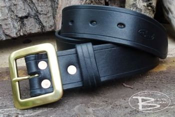 BESPOKE - Handmade 101 Classic Leather Belt - Full 'Solid Brass' Buckle - Copper Riveted (45-3101)