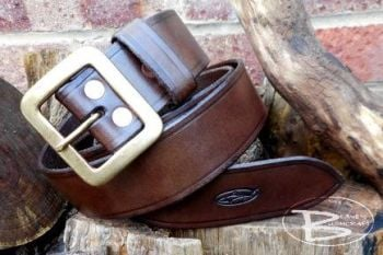 leather 101 belt in wallnut brown handmade by beaver bushcraft