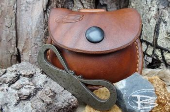 fire and leather belt pouch with full mini flint and steel kit by beaver mo