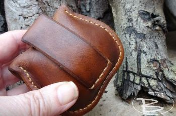 fire and leather belt pouch with mini fire kit made by beaver moon leather