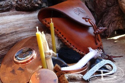 VINTAGE Copper Hudson Bay Tinderbox with Hand Stitched Leather Belt Pouch -
