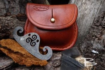 Vintage limited edition mini belt pouch in saddle tan by beaver bushcraft