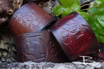 Leather cuffs limited edition pieces of entwined dragons by beaver moon lea