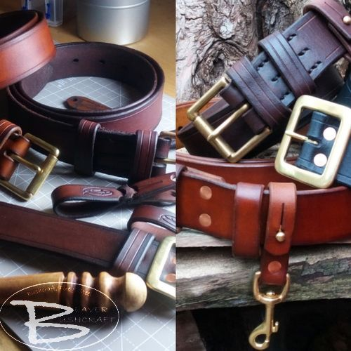Leather bespoke belts by beaver bushcraft