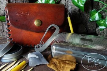 Vintage tinderbox & Pouch french style made by beaver bushcraft