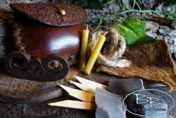 Vintage tinder box with mini limited fire steel by beaver bushcraft