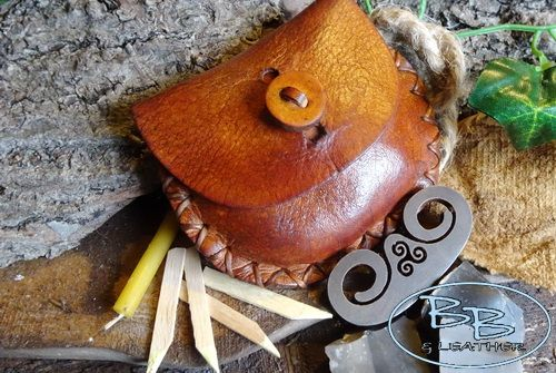 Mini Hand Stitched Vintage Leather Tinder Pouch with Limited Edition Flint