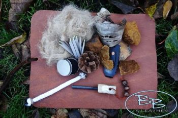 Leather & Fire tinder bushcraft mat made by beaver bushcraft