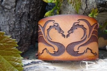 leather cuff celtic dragon design by beaver bushcraft