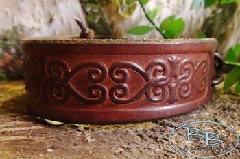 Leather slim celtic heart design cuff by beaver bushcraft