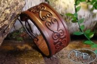 Hand Crafted Viking Styled Leather Wrist Band - Celtic Hearts