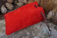 Suede Leather Red Drawstring 'Possibles' Pouch (45-6220)