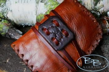 Vintage leather pioneering pouch with acorn motif hand crafted by BB