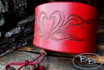Vintage hand tooled cuff made for valentines day set for beaver bushcraft