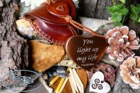 Heart Shaped Tinderbox with Hand Crafted Leather Pouch -Traditional Flint & Steel Fire Lighting kit - Limited Edition