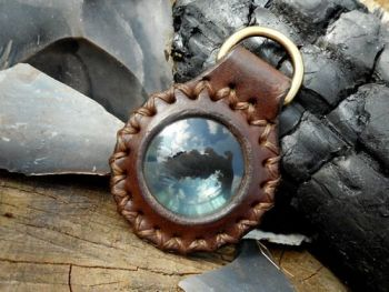 fire-solar pendant, brown, crossed stitched with D ring.,close up jpg