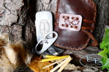 Vintage limited edtion fire lighting kit with old leather pouch and rare ti