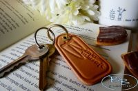 Hand Crafted Natural Leather Beaver Bushcraft Key Rings  - Brass Fittings