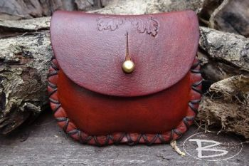 Leather mini pocket purse hand tooled with acorns by beaver moon