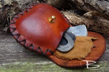 leather pouch with mini tinder set made by beaver moon