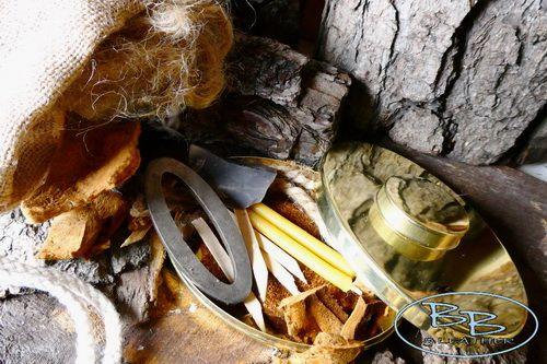 Traditional  Brass Hudson Bay Tinder Box & Full Fire Lighting Kit + Jute Po