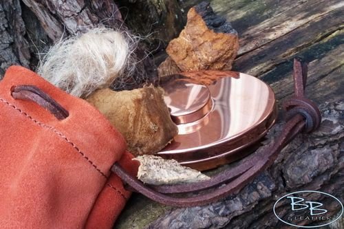 Leather suede possibles pouch in rich russet made by beaver bushcraft