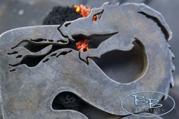 fire breathing dragon at beaver bushcraft 2021 with fire detail traditional