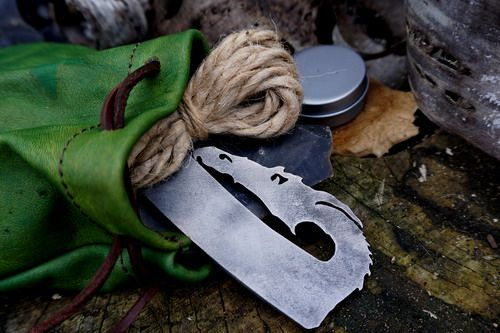 Fire leather GOT tinder pouch with beaver bushcraftdragon  fire steel