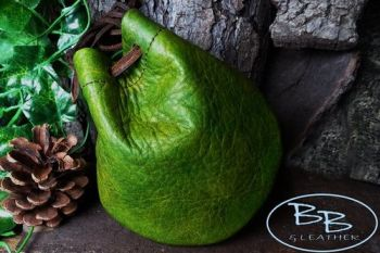 'Dragon Skin' Hand Dyed Leather Drawstring  'Possibles' Pouch- (45-6261) - Green