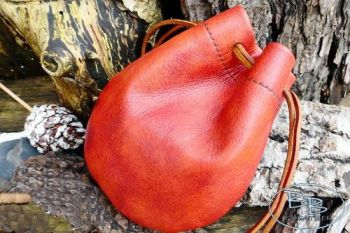'Dragon Skin' Hand Dyed Leather Drawstring  'Possibles' Pouch- Rare Red