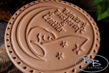 Leather patch os beaver moon in natural leather by beaver bushcraft